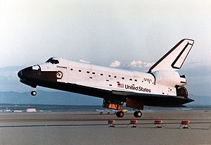 Space Shuttle Discovery lands for the first time, completing STS-41-D.jpg