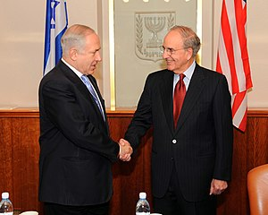George J. Mitchell - Mitchell, as Special Envoy for Middle East Peace, meets with Israeli Prime Minister Benjamin Netanyahu