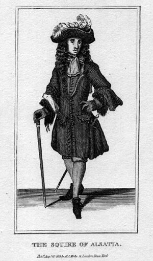 """Alsatia - """"The Squire of Alsatia"""", a dandy and rogue of restoration London, from Marcellus Laroon's series The Cryes of London"""