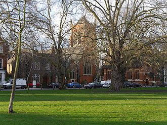 Parsons Green (The green) - Trees on the Green with St. Dionis church
