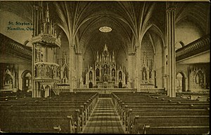 St. Stephen Church and Rectory - The church interior as it appeared in the early 20th century.