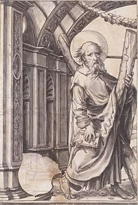St Andrew, Design for a Stained Glass Window, by Hans Holbein the Younger.jpg