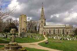 St George Ticknall with remains of old church.jpg