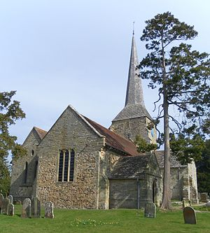St Giles' Church, Horsted Keynes - From left to right, the north aisle, west end of the nave, southwest porch and south transept are visible.