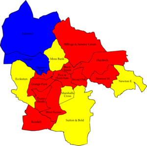 St Helens Metropolitan Borough Council elections - Image: St Helens UK local election 2002 map