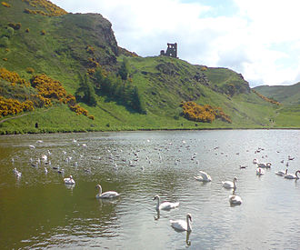 Holyrood Park - Looking south over St Margaret's Loch, towards St Anthony's Chapel
