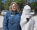 St Marks NWR photo Club Member With Endangered Whooping Crane Costume On St Vincent During Open House By Craig Kittendorph.jpg