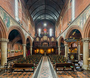 St Mary's, Bourne Street - The interior facing south-west toward the organ