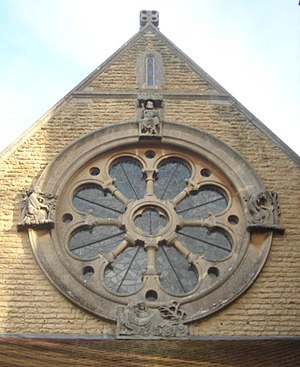 St Michael and All Angels Church, Lowfield Heath - The rose window in the west wall