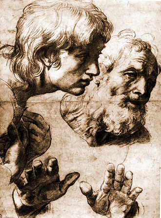 Transfiguration (Raphael) - St. Philip and St. Andrew, auxiliary cartoon in black chalk and white heightening over pouncing, 499 x 364 mm, at the Ashmolean Museum, Oxford