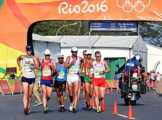 Athletics at the 2016 Summer Olympics – Men's 50 kilometres walk - Image: Staff Sgt. John Nunn race walks 50 kilometers at Rio Olympic Games (28472926634)