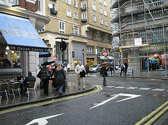 Southampton Street, London - Tavistock Street and Maiden Lane, a staggered crossroads on Southampton Street.