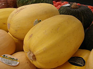 Spaghetti squash - Fruit of a yellow-skinned cultivar