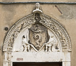 Palazzo Malipiero - Coat-of-arms of Malipiero on the Palace entrance