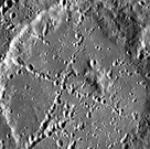 Crater Stevenson, with crater chains forming an 'x' across its surface
