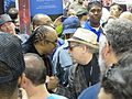 Stevie Wonder Speaking with Organist Jon Hammond at Winter NAMM January 25, 2014.JPG