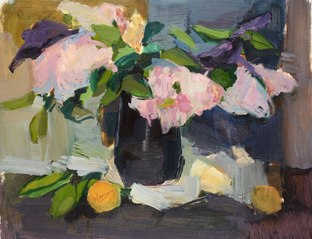 Still life with peonies in a vase