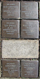 Stolpersteine für Else Langstadt, Kurt, Laura und Leo Spiegel sowie Adolf und Amalie Tint