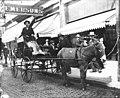 Street scene with man sitting in mule drawn wagon shaped like a shoe, Seattle, Washington, ca 1910 (LEE 217).jpeg