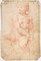 Study of a Seated Putto Looking at His Right (recto); A Woman's Head, Study after the Antique (verso) MET DP809041.jpg