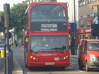 Dame Alice Owen's School - The 626 bus (in Tally Ho Corner, North Finchley). The bus is one of several that serves the school.