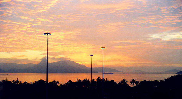 Sunrise over Guanabara Bay, viewed from Rio.