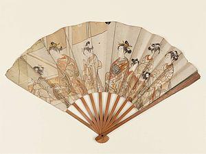 Zashiki Hakkei - A folding hand fan set with two prints by Harunobu