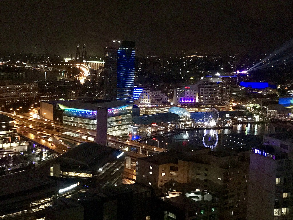 File:Sydney Darling Harbour at night, seen from Meriton ...