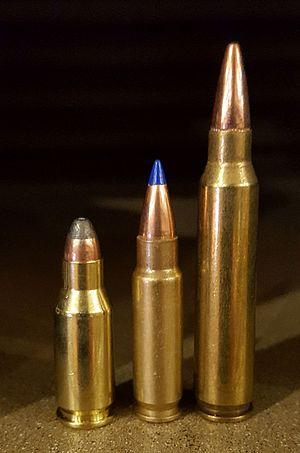 .22 TCM - From left: .22 TCM, FN 5.7×28mm, .223 Remington