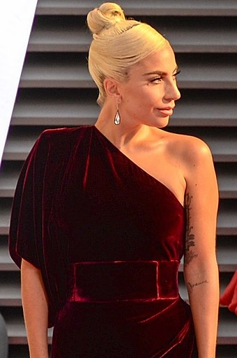 Gaga at the 2018 Toronto International Film Festival prior to the screening of A Star Is Born TIFF 2018 Lady Gaga (1 of 1) (cropped 2) (cropped).jpg