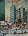 Tableau à l'huile de Roberte CHEVALIER (1907-2000) représentant le Vieux Bobigny avec l'église Saint André sous la neige pendant l'hiver 1971.png