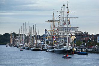 Waterford - Tall Ships lined up on the quays in Waterford for the festival.