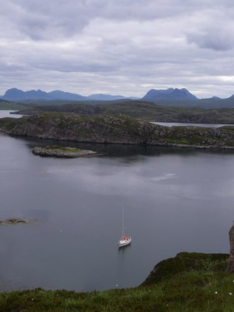 Tanera Beag - Eastern anchorage, Tanera Beag; Suilven and Cul Mòr are in the background