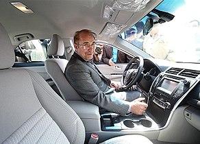 Tehran Mayor Mohammad Bagher Ghalibaf driving a Taxi