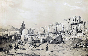 """Temple of Anahita, Kangavar - Drawing by Eugène Flandin, 1840s. He mentioned the building as """"the Greek temple""""."""