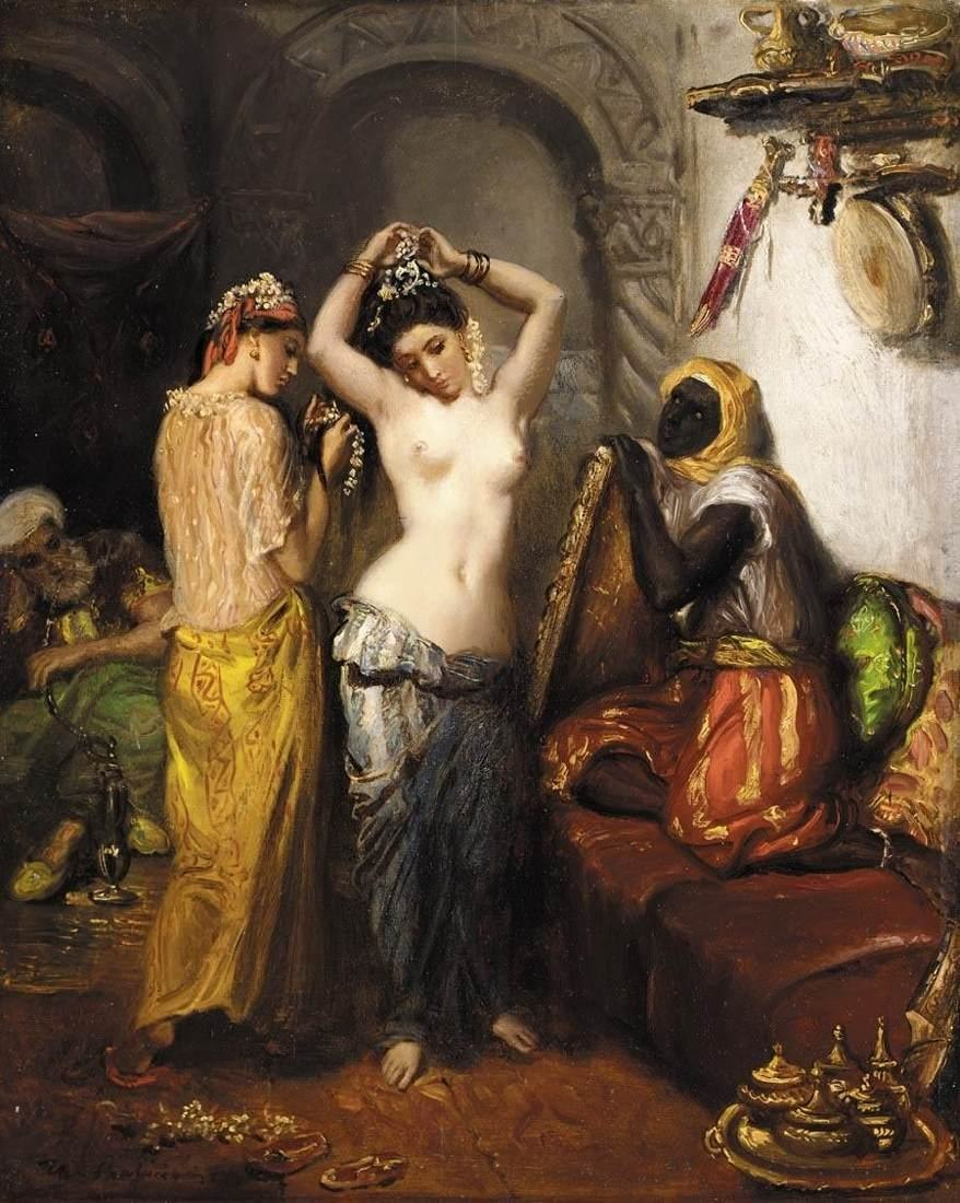 Théodore Chassériau - Orientalist Interior - Nude in a Harem - WGA04803