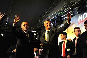 Kosovo–Turkey relations - Kosovan Prime Minister Hashim Thaçi and Recep Tayyip Erdoğan in Prizren, Kosovo (2010)
