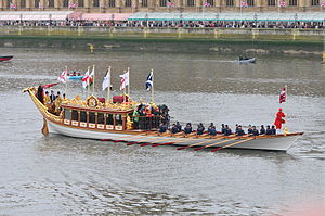 Royal barge - The royal barge Gloriana at the Thames Diamond Jubilee Pageant, 2012
