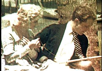 The Gulf Between (1917 film) - A surviving frame of the film from a subtractive printing test, approximating the appearance of the original additive two-color projection