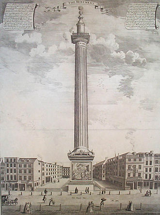 Monument to the Great Fire of London - The Monument depicted in a picture by Sutton Nicholls, c. 1753.