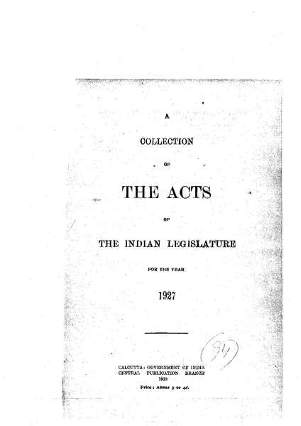 File:The Acts of the Indian Legislature for the year 1927.pdf