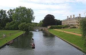 The Backs - Part of the Backs showing Clare College, Clare bridge, and the back lawns of King's.