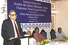 The Chairman, Press Council of India, Justice Markandey Katju addressing at an interactive session on Public Relations Society of India, at Kolkata on December 05, 2011.jpg
