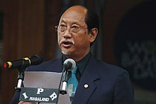 The Chief Minister of Nagaland, Shri Neiphiu Rio addressing at the inauguration of the World Bamboo Day function, at Kisama Heritage Village, in Kohima, Nagaland on September 18, 2010.jpg