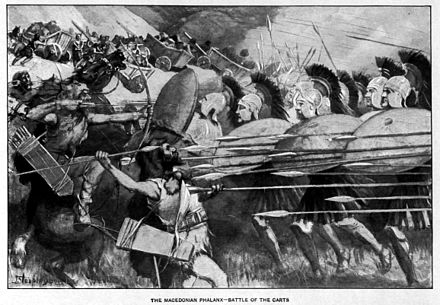 "The Macedonian phalanx at the ""Battle of the Carts"" against the Thracians in 335 BC. The Macedonian phalanx counter-attacks during the battle of the carts.jpg"