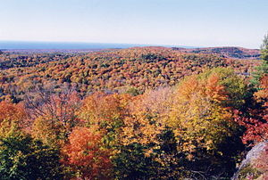 Porcupine Mountains - Autumn color and Lake Superior.