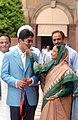 The President, Smt. Pratibha Devisingh Patil blessing the first winner of an individual Gold Medal for India at the Beijing Olympic Games and International Shooting Ace, Shri Abhinav Bindra, in New Delhi on August 14, 2008.jpg