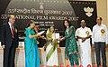 The President, Smt. Pratibha Devisingh Patil presenting the Award for Best Female Playback Singer, to Ms. Shreya Ghoshal for Hindi Film Jab Be Met, at the 55th National Film Awards function, in New Delhi on October 21, 2009.jpg