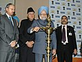 The Prime Minister, Dr. Manmohan Singh lighting the lamp to launch the Jawaharlal Nehru National Solar Mission – Solar India, in New Delhi on January 11, 2010.jpg