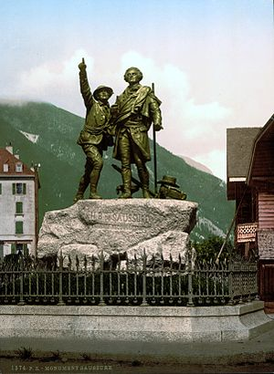 Chamonix - Horace-Benedict de Saussure, with Jacques Balmat (left) who points towards the summit of Mont Blanc, Monument at Chamonix.